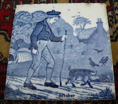 C.1880 Antique Wedgwood Helen Miles Blue & White Tile 'october'