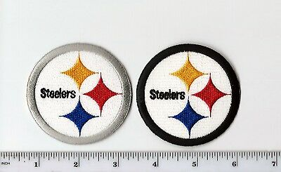 Set of 2 NFL Pittsburgh Steelers 2.5 Inch Round Logo PATCH (sew or iron on)