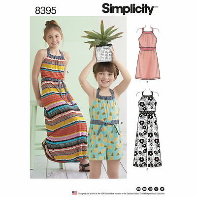 SIMPLICITY SEWING PATTERN 8395 Childs/Girls Halter Neck Dress Or ...