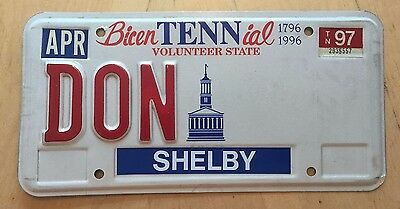 "Tennessee Bicentennial  Vanity License Plate "" Don "" Donald Donnie Donny Tenn"