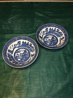 Set of 2 Johnson Brothers Blue Willow Ironstone Round Vegetable Bowls