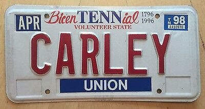 "Tennessee Bicentennial  Vanity License Plate "" Carley "" Carl Carli Carly Simon"