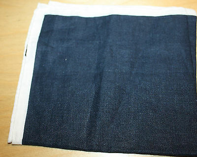 BERGDORF Italy Navy Blue White Linen Pocket Square Handkerchief New Rolled Edge