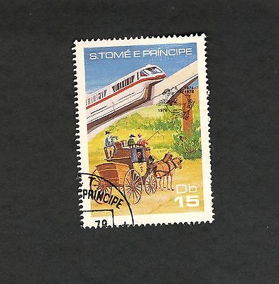1978  S. Tome E Principe SC #493g Sky Train Horse & Buggy used stamp