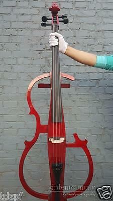 4/4 electric Cello Red  color solid wood Powerful Sound Cello bow Bag #1444