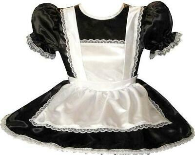 """Maryette"" Custom Fit Lacy SATIN MAID Adult LG Sissy Baby Dress LEANNE"