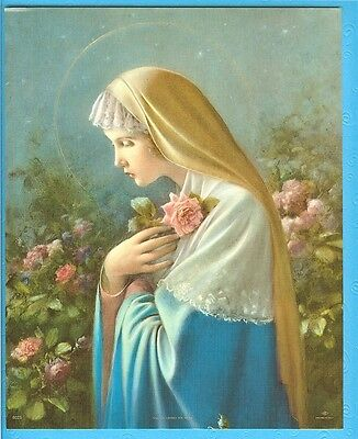 Catholic Print Picture Virgin Mary MYSTICAL ROSE by SIMEONE 8x10 from Italy