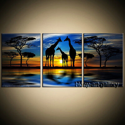 Large Coloful Tree Sunset Africa Landscape OIL Painting Wall Art Decor on Canvas