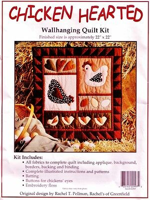 """CHICKEN HEARTED WALLHANGING QUILTKIT Rachel of Greenfield 22"""" QUILTING Patchwork"""
