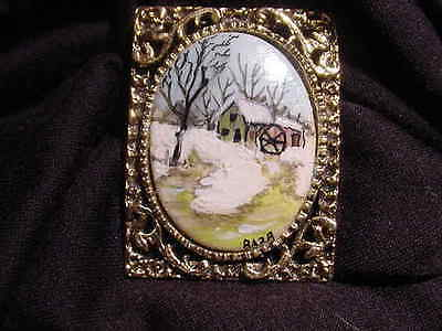 Antique Hand Painted Winter Scene Pin