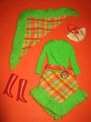 (190)Altes Vintage Barbie Mod Outfit All About Plaid #3433 Mattel 1971 Sehr Gut