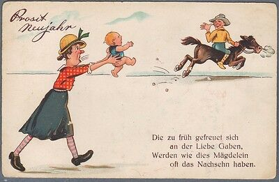 Comic Postcard Man Riding Away from His Wife and Baby