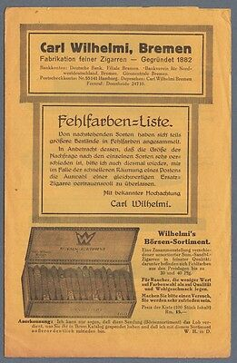 1920-30s Carl Wilhelmi Bremen Fabrikation Zigarren Cigars Price Guide Germany