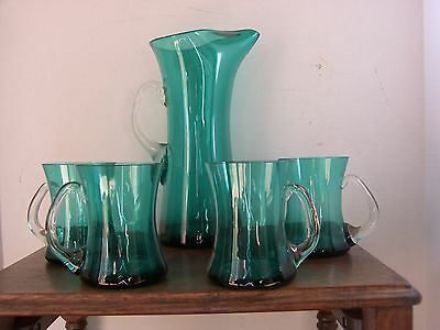 art glass  green juce jug and mug set ( 5 peace)