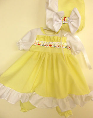 Dream Girls Lemon White Ruffle Winnie The Pooh Dress Pants Bonnet Set Nb 0-3 3-6