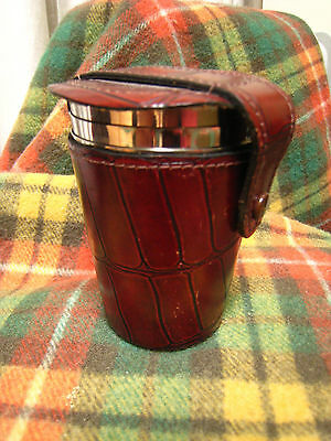Vintage 4 travel cups beakers picnic stainless steel in leather case tot dram