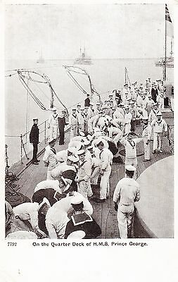 On The Quarter Deck Of Hms Prince George, Postcard, 1907