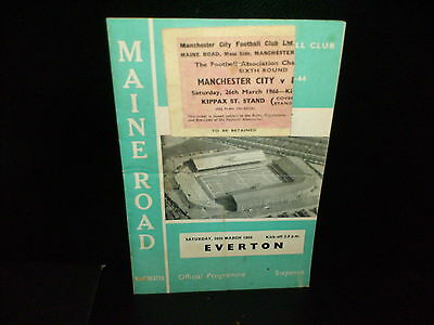 1965/1966 FA CUP   MANCHESTER CITY   v.  EVERTON   &  MATCH  TICKET.