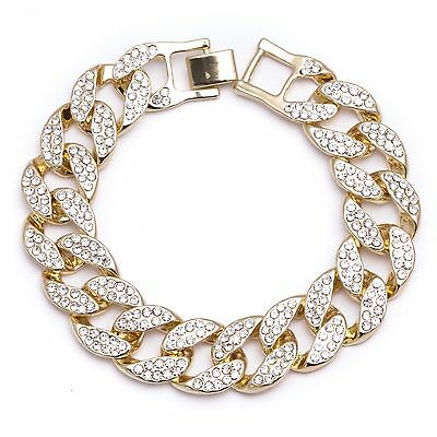 Men's 2 Row Iced Out Crystal Stones Gold Plated Chunky Cuban Link Chain Bracelet