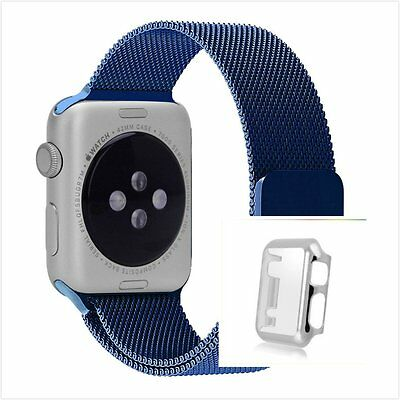 Blue Milanese Metal Band Strap For Apple Watch 42mm Protect Silver Case