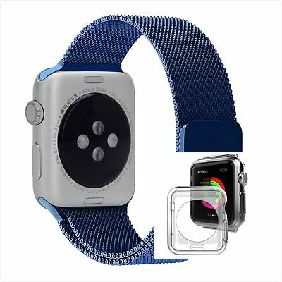 Blue Milanese Stainless Metal Band Strap For Apple Watch 42mm Clear Case