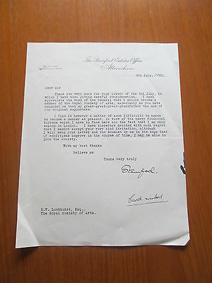 1953 Lord Stamford Altrincham Autographed Signed Typed Letter