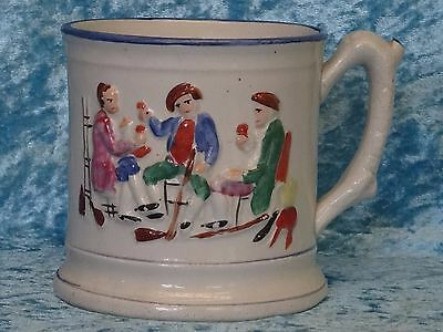 Large Antique 19thC Staffordshire FROG MUG - Toping / Tavern Scenes - Blue Trim