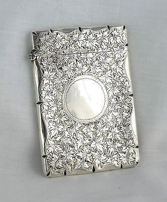 Pretty Edwardian Embossed Silver Card Case Stokes & Ireland Ltd Chester 1905