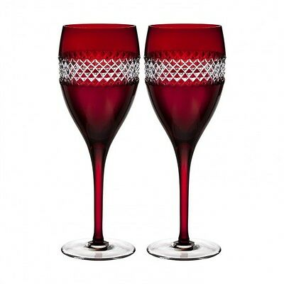 2x John Rocha at Waterford  Red Cut (Ruby) Wine Glasses, Pair  - New Unboxed