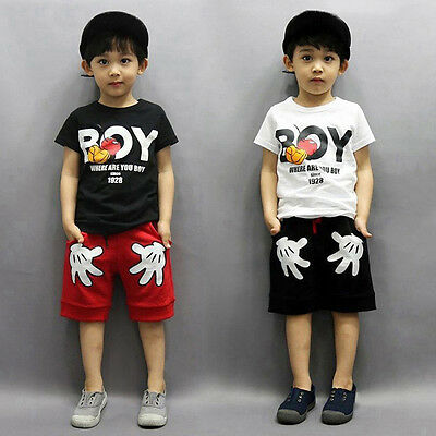 2PCS Toddler Baby Boy Kids Outfit T-shirt+Shorts Casual Mickey Mouse Clothes Set