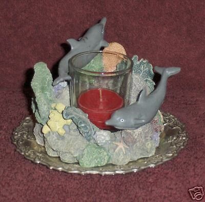 NAUTICAL candleholder DOLPHIN votive CANDLE holder