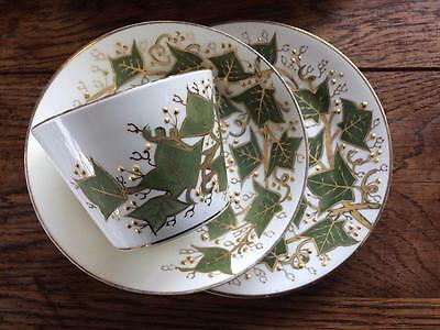 Antique Victorian Unmarked China Trio Ivy Leaves With Gilding Cup Saucer Plate