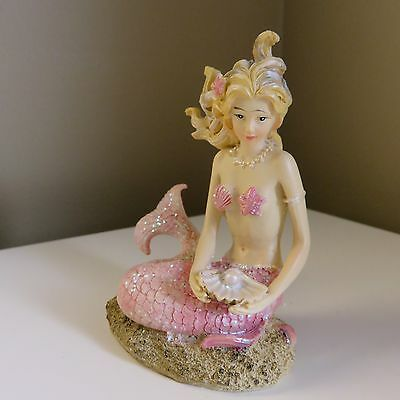 Mermaid Under The Sea Figurine Mermaids Decor New Sitting Pink Tail Poly Resin