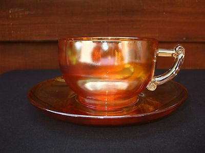 Unusual Marigold Carnival Glass Cup And Saucer.Have You Seen Another One ?? VGC.