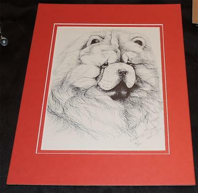 "Vintage Original 1984 Signed #90/250  Kimmel Chow Chow Print  Matted 11"" x 14"""