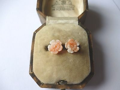 Finely Carved Coral Flower 9ct Yellow Gold Stud Earrings