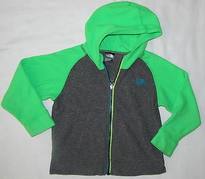 Boys Girls The North Face Lime Green Gray Fleece Hoodie Jacket Size 3T Toddler