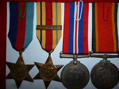"""WW2 Africa Star """"8th Army"""" Clasp Named Medal Group of (4) Medals, Geils"""