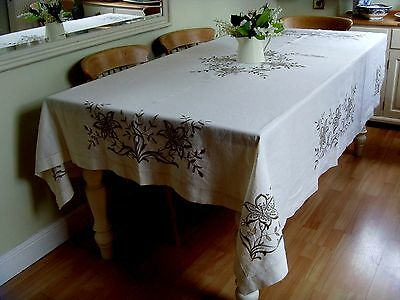 Beautiful X Large Hand Embroidered Cut Work Linen Tablecloth Flowers Lilies