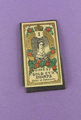 Princess Victoria Finest Gold Ey'd Sharps No.1 Needles - Early Packet & Contents