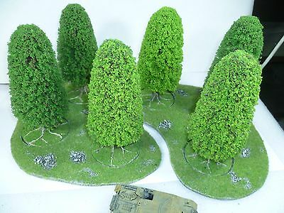 6 Large model trees with 2 resin bases for 20mm and 28mm wargames