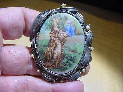 Vintage Large Early Transfer Portrait Cameo Pin Pendant