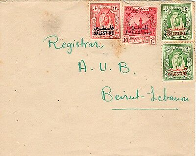 Jordan Palestine-Liban 1948 to 1950 overprinted stamps, mailed cover