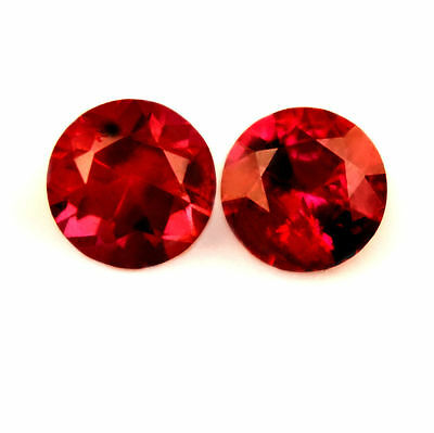 Certified Natural Untreated Ruby 0.42ct VVS Brilliant Cut Round Matching Pair