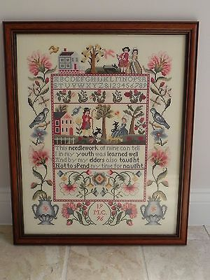 Stunning Completed and Framed Jacobean Wisdom Cross Stitch Sampler COLLECT ONLY