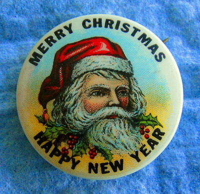 Antique Christmas Pinback: SANTA CLAUS; Merry Christmas Happy New Year; Colorful