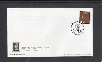 GB 2017 Machin Anniv £1 gold stamp ex PSB Prestige Stamp RM FDC Mayfair spec pmk