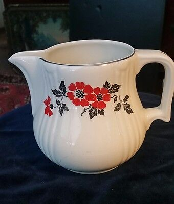 Hall Pottery Red Poppy Pattern Water Pitcher
