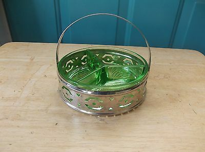 Vintage Green Vaseline Glass Three-Sectioned Candy Dish in Chrome Holder