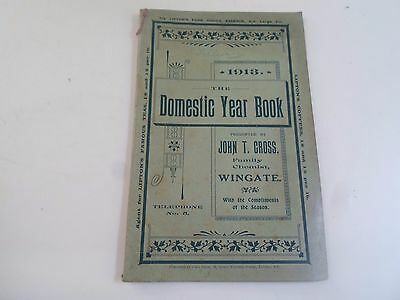 Rare Antique The Domestic Year Book 1913 by John T Cross Family Chemist Wingate